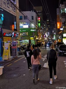 Walking the streets of Gangnam with a friend